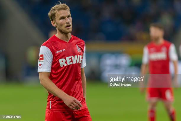 Sebastian Andersson of 1.FC Koeln Looks on during the Bundesliga match between TSG Hoffenheim and 1. FC Köln at PreZero-Arena on October 15, 2021 in...
