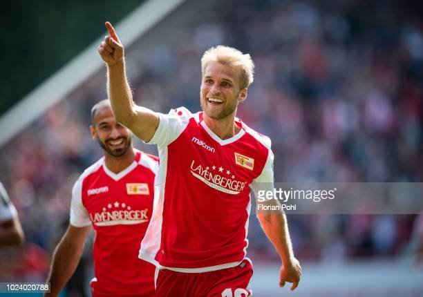 Sebastian Andersson of 1.FC Union Berlin celebrates after scoring the 3:0 during the 2nd Bundesliga match between Union Berlin and FC St Pauli at...