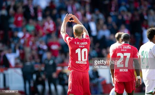 Sebastian Andersson of 1FC Union Berlin celebrates after scoring the 11 during the german soccer league match between FC Union Berlin against SV...