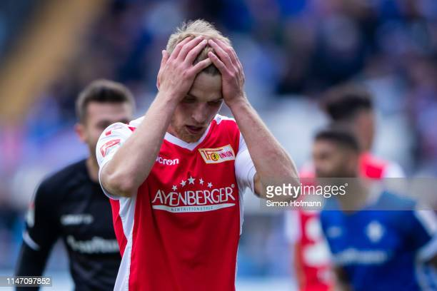 Sebastian Andersson of Berlin reacts during the Second Bundesliga match between SV Darmstadt 98 and 1 FC Union Berlin at JonathanHeimesStadion am...