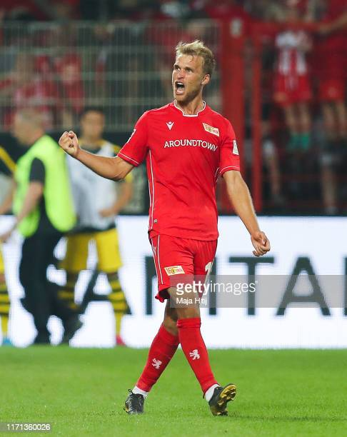 Sebastian Andersson of FC Union Berlin celebrates after scoring his team's third goal during the Bundesliga match between 1. FC Union Berlin and...