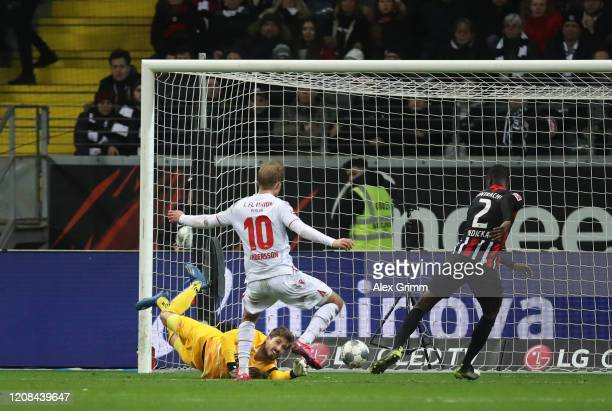 Sebastian Andersson of FC Union Berlin scores his sides second goal during the Bundesliga match between Eintracht Frankfurt and 1. FC Union Berlin at...