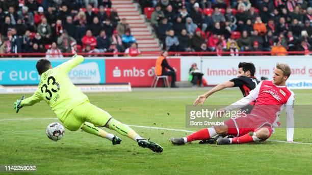 Sebastian Andersson of FC Union Berlin scores his team's first goal during the Second Bundesliga match between 1. FC Union Berlin and SSV Jahn...