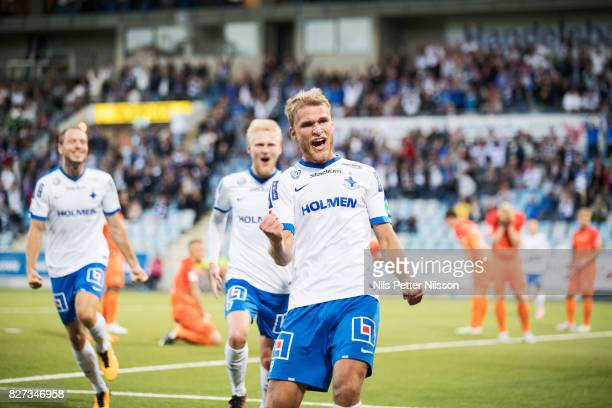 Sebastian Andersson of IFK Norrkoping celebrates after scoring to 1-0 during the Allsvenskan match between IFK Norrkoping and Athletic FC Eskilstuna...