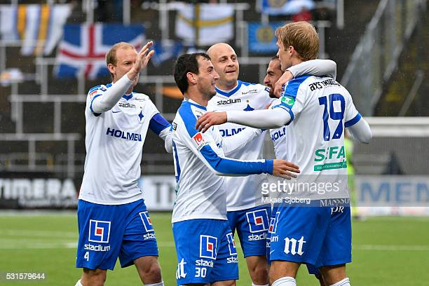 Sebastian Andersson of IFK Norrkoping celebrates with teammates after scoring 20 during the Allsvenskan match between IFK Norrkoping and GIF...