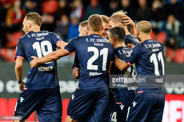 Sebastian Andersson of Union Berlin celebrates after scoring his team`s first goal with team mates during the Second Bundesliga match between FC...