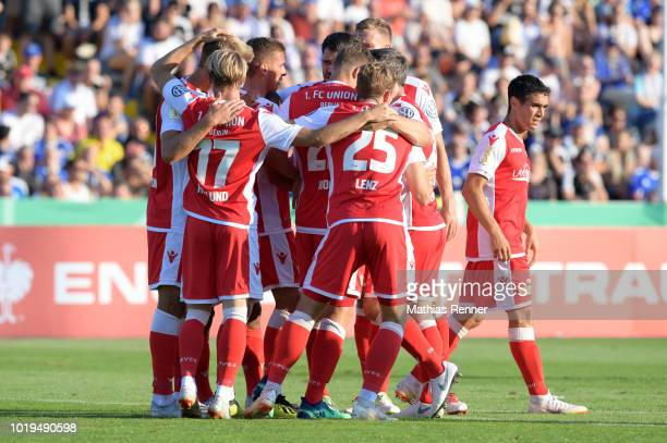 The players of Union Berlin acknowledge the fans after the game between FC Carl Zeiss Jena and Union Berlin at the ErnstAbbeSportfeld on august 19...