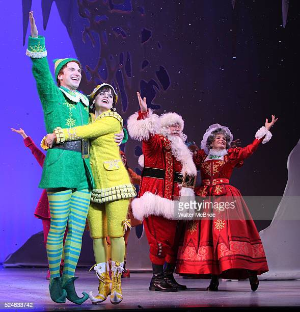 Sebastian Arcelus Amy Spanger George Wendt Nancy Johnston during the Opening Night Performance Curtain Call for 'Elf' at The Al Hirschfeld Theatre in...