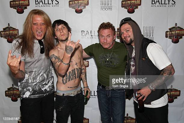 Sebastian Bach Brandon Novak Bam Margera and Danny Bonaduce attend the Battle of the Room Trashing Bands at Bally's Atlantic City on Friday June 25...
