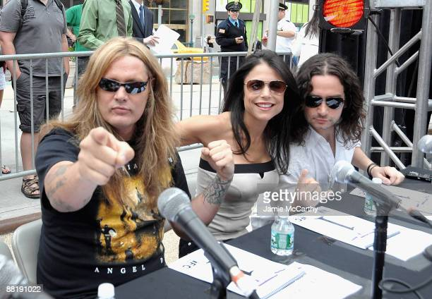 Sebastian BachBethanny Frankel and Constantine Maroulis attend America's Hottest Rocker Mom Contest at Madison Square Park on June 3 2009 in New York...