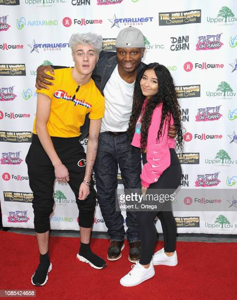 Sebastian Bails Sheldon Robbins and Dani Cohn attend Danielle Cohn's Music Video Release Party For Lights Camera Action held at Starwest Studios on...