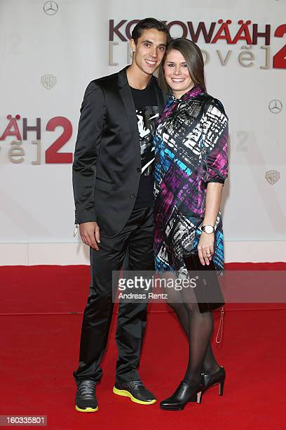 Sebastian Bayer and Carolin Nytra attend 'Kokowaeaeh 2' Germany Premiere at Cinestar Potsdamer Platz on January 29 2013 in Berlin Germany