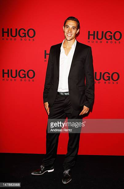 Sebastian Bayer arrives for the Hugo By Hugo Boss show during the MercedesBenz Fashion Week Spring/Summer 2013 on July 5 2012 in Berlin Germany