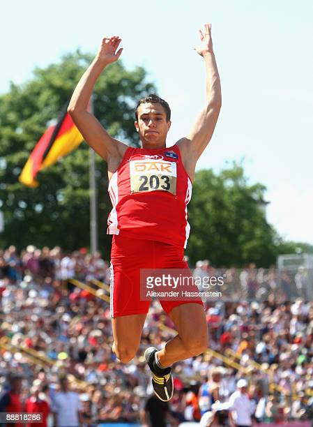 Sebastian Bayer competes at his final jump at the men's long jump event on day one of the German National Athletics Championships at the Donau...