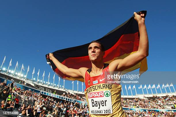 Sebastian Bayer of Germany celebrates winning gold in the Men's Long Jump Final during day five of the 21st European Athletics Championships at the...