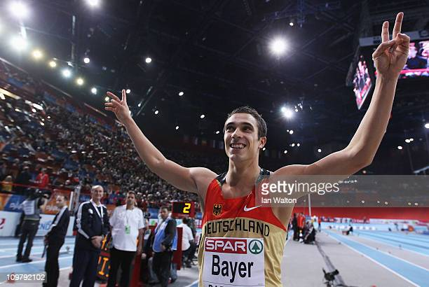 Sebastian Bayer of Germany celebrates winning the gold medal in the Men's Long Jump during day 2 of the 31st European Athletics Indoor Championships...