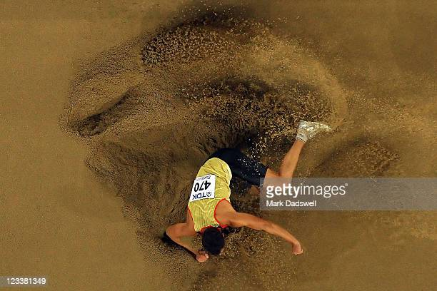 Sebastian Bayer of Germany competes during the men's long jump final during day seven of 13th IAAF World Athletics Championships at Daegu Stadium on...