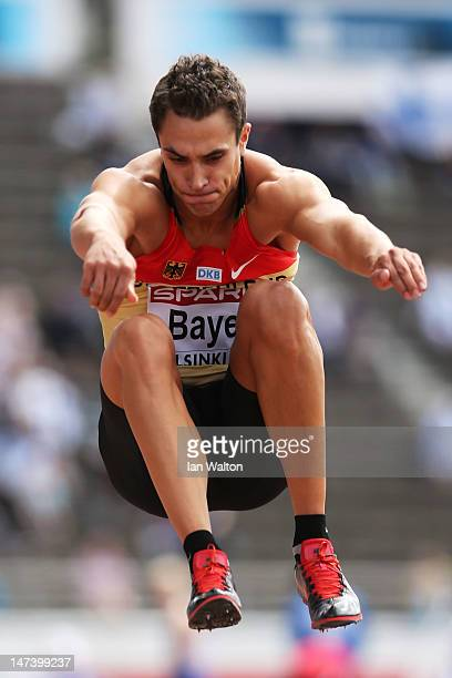 Sebastian Bayer of Germany competes in the Men's Long Jump Qualification during day three of the 21st European Athletics Championships at the Olympic...