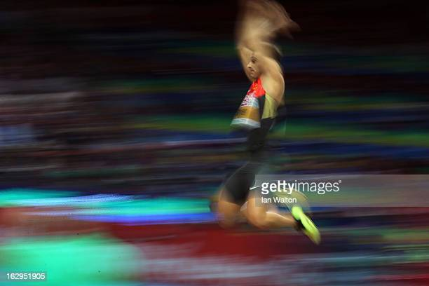 Sebastian Bayer of Germany competes in the Men's Long Jump qualification during day two of the European Athletics Indoor Championships at...