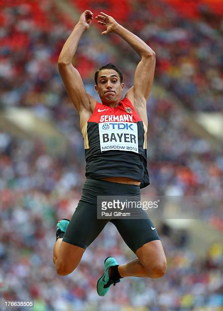 Sebastian Bayer of Germany competes in the Men's Long Jump final during Day Seven of the 14th IAAF World Athletics Championships Moscow 2013 at...