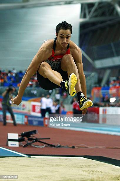 Sebastian Bayer of Germany competes in the Mens Long Jump Final during day three of the European Athletics Indoor Championships at the Oval Lingotto...