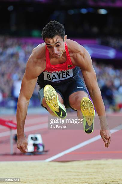 Sebastian Bayer of Germany competes in the Men's Long Jump Final on Day 8 of the London 2012 Olympic Games at Olympic Stadium on August 4 2012 in...
