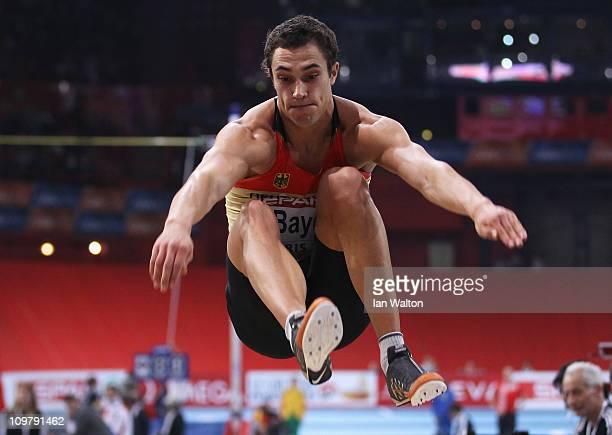 Sebastian Bayer of Germany competes on the way to winning the gold medal in the Men's Long Jump during day 2 of the 31st European Athletics Indoor...