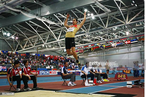 Sebastian Bayer of Germany completes the gold medal jump in the Mens Long Jump Final during day three of the European Athletics Indoor Championships...