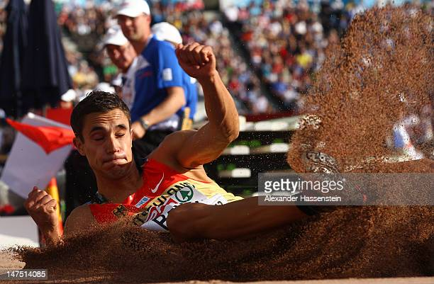 Sebastian Bayer of Germany jumps to victory in the Men's Long Jump Final during day five of the 21st European Athletics Championships at the Olympic...