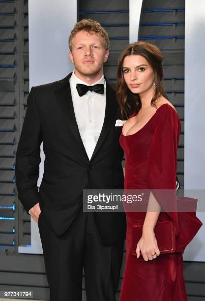 Sebastian BearMcClard and Belvedere Ambassador Emily Ratajkowski attend the 2018 Vanity Fair Oscar Party hosted by Radhika Jones at Wallis Annenberg...