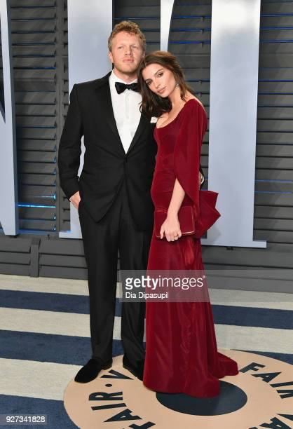 Sebastian BearMcClard and Belvedere Ambassador Emily Ratajkowski attend the 2018 Vanity Fair Oscar Party hosted by Radhika Jones at Wallis Annenberg...