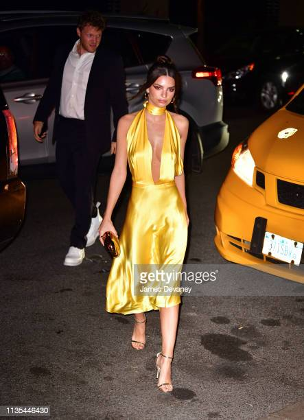 Sebastian BearMcClard and Emily Ratajkowski arrive to the wedding reception for Char Defrancesco and Marc Jacobs at The Grill and The Pool on April 6...