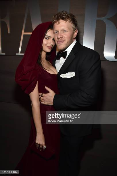 Sebastian BearMcClard and Emily Ratajkowski attend the 2018 Vanity Fair Oscar Party hosted by Radhika Jones at Wallis Annenberg Center for the...