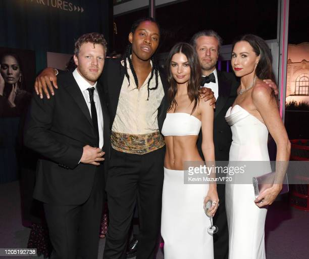 Sebastian BearMcClard Jeremy O Harris Emily Ratajkowski Addison O'Dea and Minnie Driver attend the 2020 Vanity Fair Oscar Party hosted by Radhika...