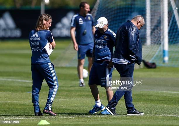 Sebastian Beccacece assistant coach Jorge Sampaoli coach of Argentina Claudio Tapia President of AFA look on during a training session at Argentine...