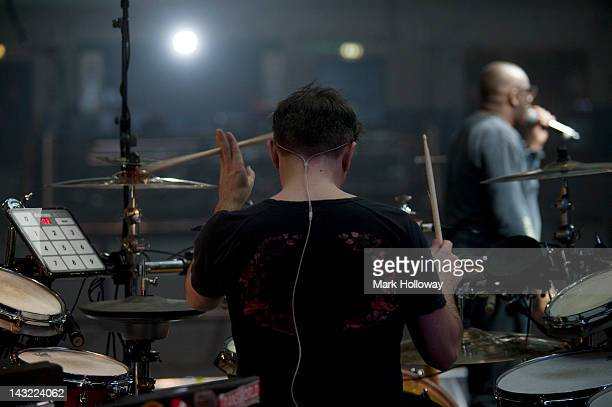 Sebastian Beresford and Djum Djum of Leftfield performing on stage during sound check at Brixton Academy on April 21 2012 in London United Kingdom