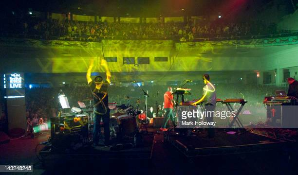 Sebastian Beresford Neil Barnes and Adam Wren of Leftfield performs on stage at Brixton Academy on April 21 2012 in London United Kingdom