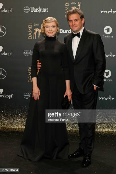 Sebastian Bezzel and his wife Johanna Christine Gehlen arrive at the Bambi Awards 2017 at Stage Theater on November 16 2017 in Berlin Germany