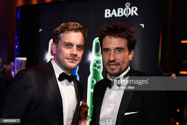 Sebastian Bezzel and Oliver Mommsen attend the Bambi Awards 2015 party at Atrium Tower on November 12, 2015 in Berlin, Germany.