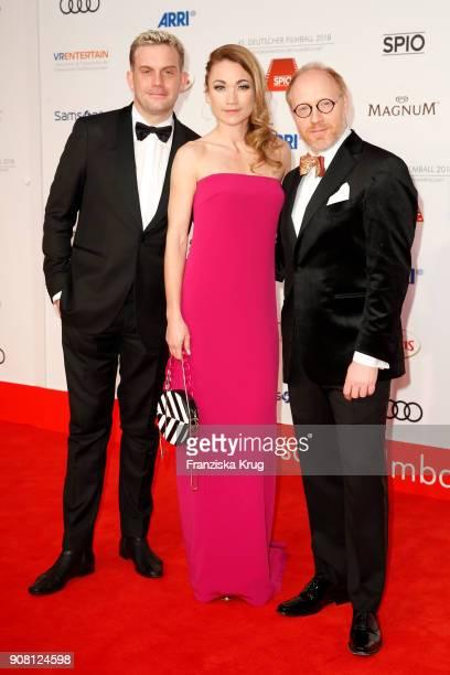 Sebastian Bezzel Lisa Maria Potthoff and Simon Schwarz attend the German Film Ball 2018 at Hotel Bayerischer Hof on January 20 2018 in Munich Germany