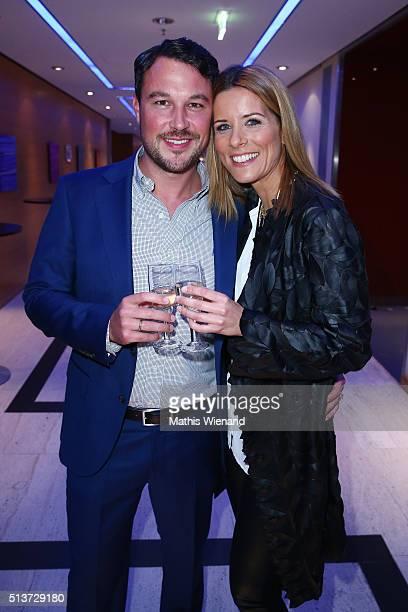 Sebastian Biener and Miriam Lange attend the Gloria - Deutscher Kosmetikpreis 2016 at Hilton Hotel on March 4, 2016 in Duesseldorf, Germany.