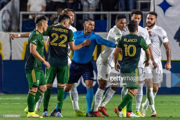 Sebastian Blanco of Portland Timbers argues with Derrick Williams of Los Angeles Galaxy during the game at the Dignity Health Sports Park on October...