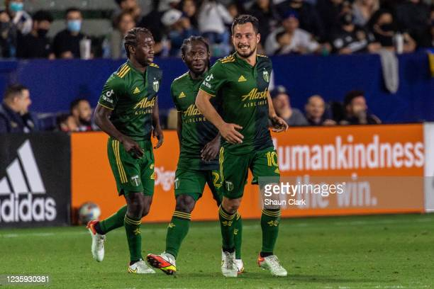 Sebastian Blanco of Portland Timbers celebrates his goal during the game against Los Angeles Galaxy at the Dignity Health Sports Park on October 16,...