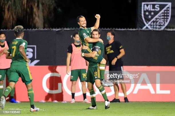 Sebastian Blanco of Portland Timbers celebrates scoring a goal in the second half against the Philadelphia Union during the MLS Is Back Tournament...