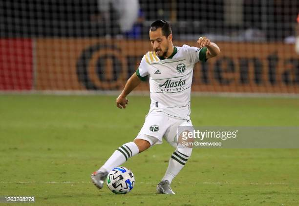 Sebastian Blanco of Portland Timbers kicks the ball during a quarter final match of MLS Is Back Tournament between New York City and Portland Timbers...