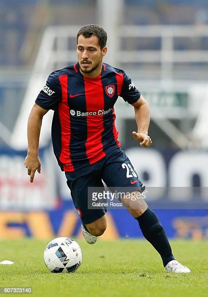 Sebastian Blanco of San Lorenzo drives the ball during a match between San Lorenzo and Velez Sarsfield as part of third round of Campeonato de...