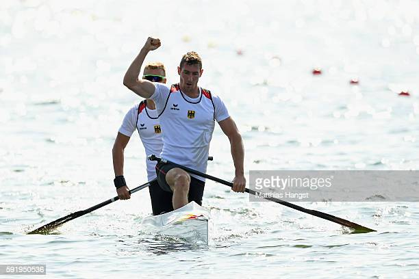 Sebastian Brendel of Germany and Jan Vandrey of Germany compete in the Men's Canoe Double 1000m on Day 14 of the Rio 2016 Olympic Games at the Lagoa...