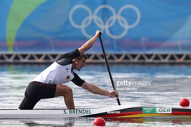Sebastian Brendel of Germany competes during the Men's Canoe Single 1000m Final A on Day 11 of the Rio 2016 Olympic Games at the Lagoa Stadium on...