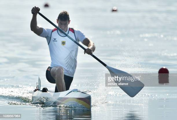 Sebastian Brendel of Germany in action during the Men's Canoe Single 1000m Heats of the Canoe Sprint events during the Rio 2016 Olympic Games at...