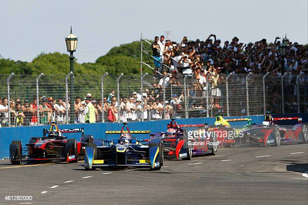 Sebastian Buemi of Switzerland and edams Renault Formula E Team leads during the 2015 FIA Formula E Buenos ePrix at Puerto Madero Street Race Track...